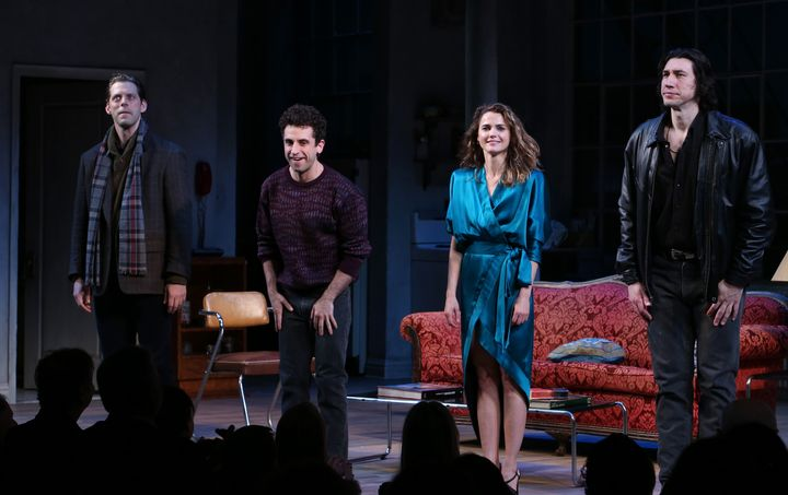 """Uranowitz (second from left) with his """"Burn This"""" co-stars David Furr, Keri Russell and Adam Driver."""