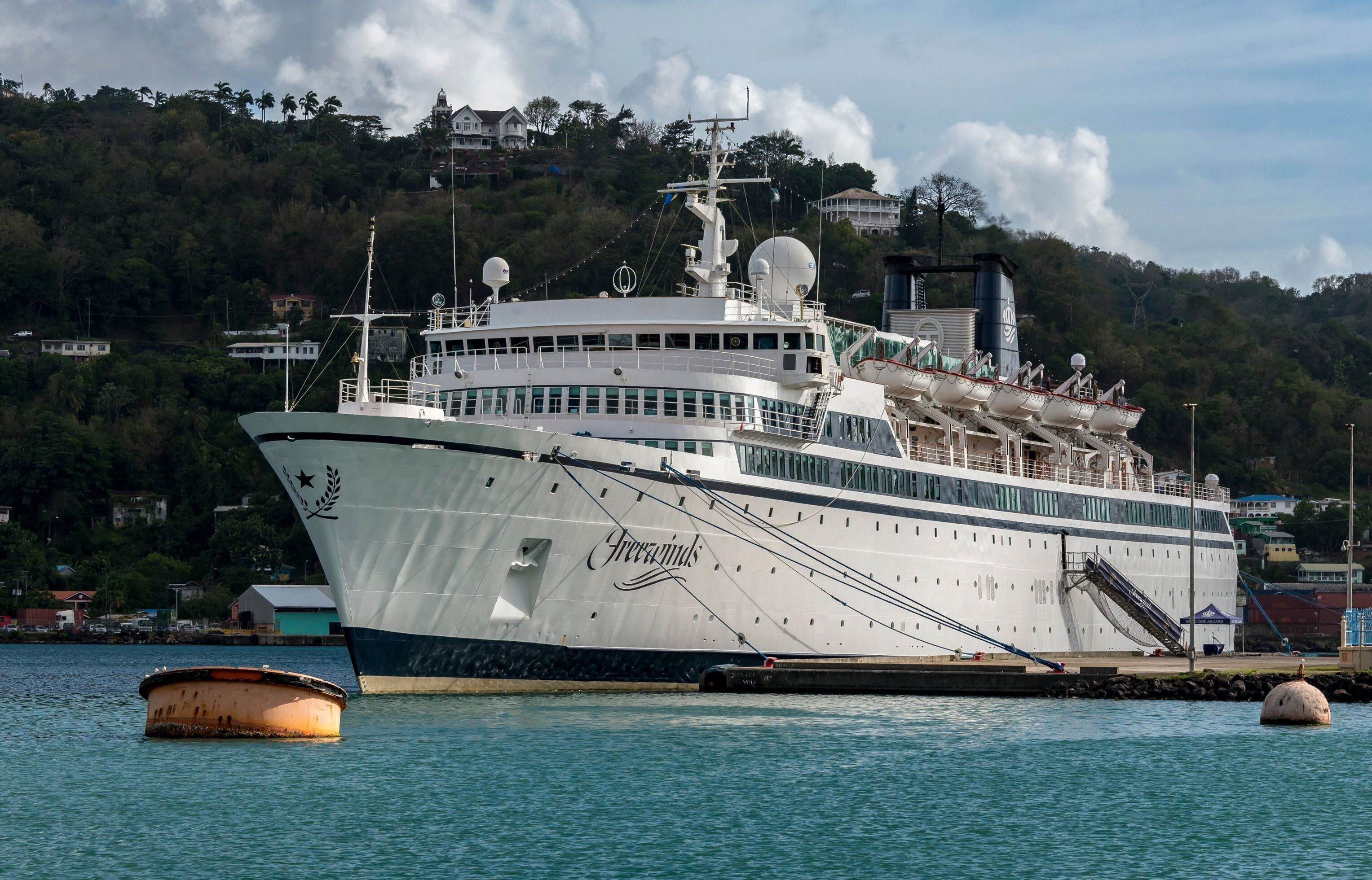 The Freewinds cruise ship owned by the Church of Scientology is seen docked in quarantine at the Point Seraphine terminal in Castries, Saint Lucia, on May 2, 2019, after a measles case was detected onboard. - A cruise ship owned by the Church of Scientology has been quarantined in Saint Lucia for two days because of a measles case, health authorities on the Caribbean island said May 2, 2019. The vessel was Thursday docked at the Point Seraphine terminal in the port of the capital Castries, according to an AFP photographer. One man was spotted on board. (Photo by Kirk Elliott / AFP)        (Photo credit should read KIRK ELLIOTT/AFP/Getty Images)