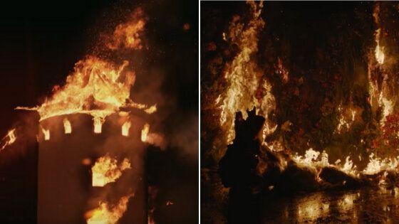 A la izquierda, escena de los molinos de viento ardiendo del vídeo de 'De aquí no sales'...
