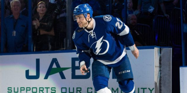 TAMPA, FL - DECEMBER 20: Jonathan Drouin #27 of the Tampa Bay Lightning celebrates the win against the...