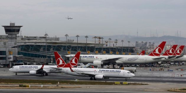 Turkish Airlines aircrafts taxi at Ataturk International Airport in Istanbul, Turkey, February 13, 2016....
