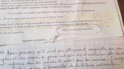 Elle refuse que son fils visite Marineland avec sa classe et lui écrit un mot d'excuse hors de