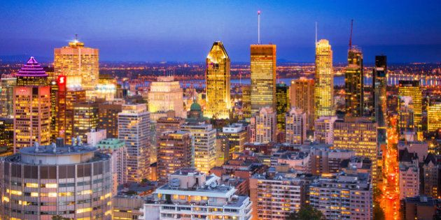 Downtown Montreal Skyline at night, from la place de la cathedrale to the edge of