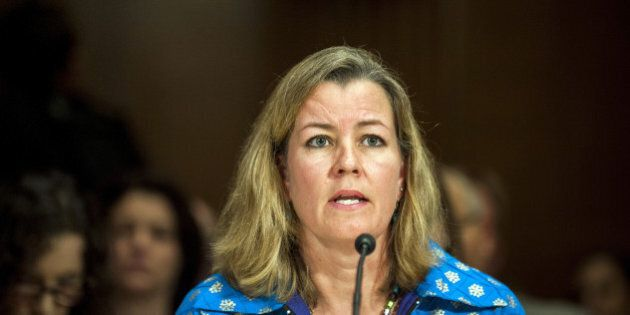 Kelly Clements, Deputy High Commissioner for refugees at the United Nations (UN), testifies at a Senate Appropriations subcommittee hearing in Washington, D.C., U.S.,  on Tuesday, April 12, 2016. The hearing looked at the impact of violent extremism and the role of foreign aid. Photographer: Pete Marovich/Bloomberg via Getty Images