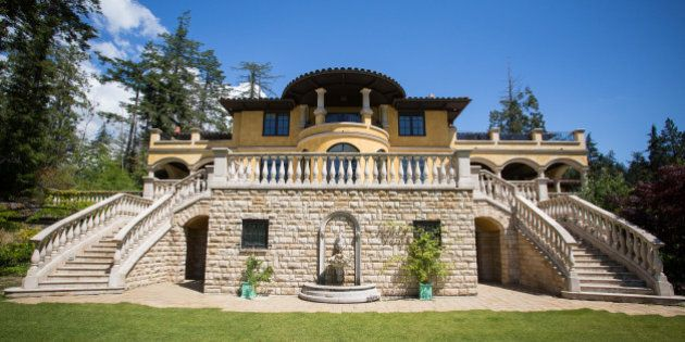 A mansion for sale listed at $23.8 million dollars stands in West Vancouver, British Columbia, Canada,...