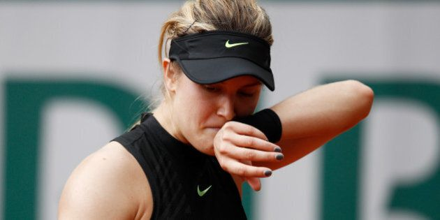 PARIS, FRANCE - JUNE 01: Eugenie Bouchard of Canada reacts during the ladies singles second round match...