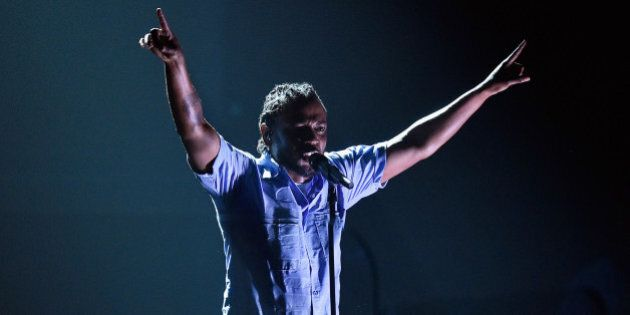 LOS ANGELES, CA - FEBRUARY 15: Rapper Kendrick Lamar performs onstage during The 58th GRAMMY Awards at...