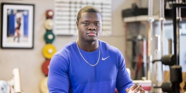 TORONTO, ON - FEBRUARY 20 - Working out at Laylor Performance Systems, Toronto's Fabion Foote is determined...