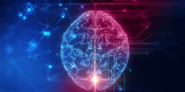 3d rendering of human brain on technology background represent artificial intelligence and cyber space