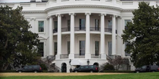 US President Donald Trump's motorcade arrives at The White House March 26, 2017 in Washington, DC. /...