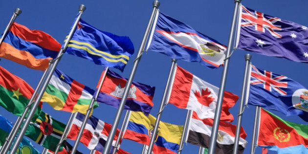 Canada and British Commonwealth and world national flags is