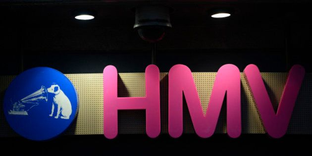 The sign is seen at the front of a HMV shop in central London, January 15, 2013. HMV, the 92-year-old...
