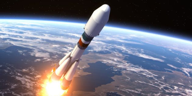 Heavy Carrier Rocket Launch. 3D Scene. Elements of this image furnished by