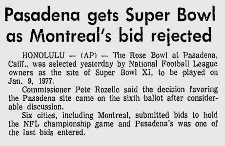 Saviez-vous qu'en 1975, Montréal a déposé sa candidature pour organiser le Super Bowl