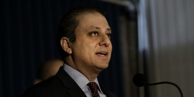 Preet Bharara, U.S. attorney for the Southern District of New York, speaks during a press conference...
