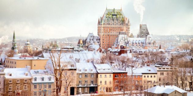 Quebec City Winter Skyline featuring the Chateau Frontenac