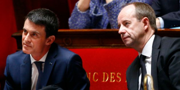 French newly appointed Justice Minister Jean-Jacques Urvoas, right, and French Prime Minister Manuel...