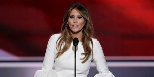 Melania Trump, wife of Republican Presidential Candidate Donald Trump, speaks during the opening day...