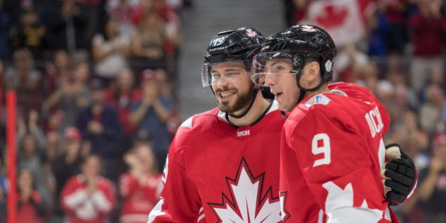 Sep 10, 2016; Ottawa, Ontario, Canada;  Team Canada forward Matt Duchene (9) celeabrates with forward Tyler Seguin (19) his goal scored against Team USA during a World Cup of Hockey pre-tournament game at Canadian Tire Centre. Mandatory Credit: Marc DesRosiers-USA TODAY Sports