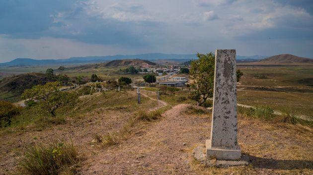 Frontera entre Brasil (a la izquierda) y Venezuela, cerca de