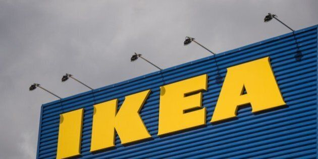 The logo of IKEA is pictured outside Europe's biggest Ikea store in Kungens Kurva, south-west of Stockholm...