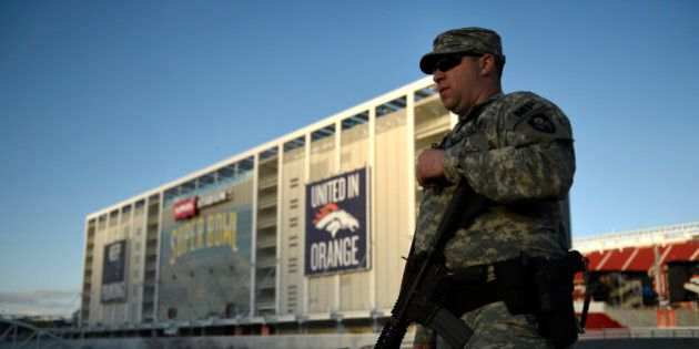 SANTA CLARA, CA - FEBRUARY 02: California National Guard specialist Trae Carpenter guarding Levi's Stadium...