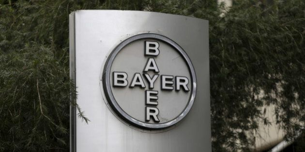 The corporate logo of Bayer is seen at the headquarters building in Caracas March 1, 2016. Picture taken...