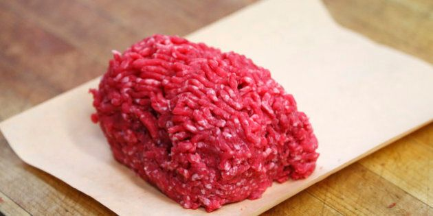Ground Alberta beef is seen before packaging at Bon Ton Meat Market in Calgary, Alberta, October 3, 2012....
