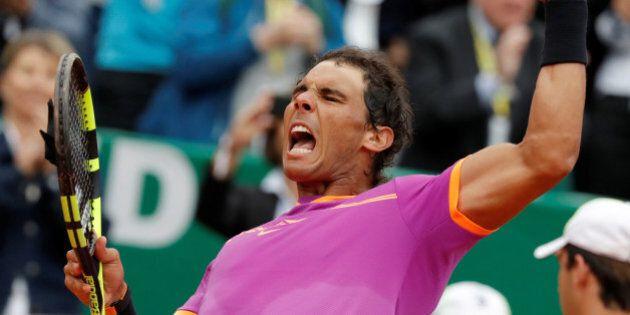 Tennis - Monte Carlo Masters - Monaco, 19/04/2017. Rafael Nadal of Spain reacts after defeating Kyle...