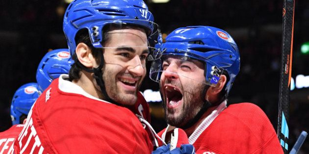 MONTREAL, QC - JANUARY 31: Max Pacioretty #67 and Alexander Radulov #47 of the Montreal Canadiens celebrate...