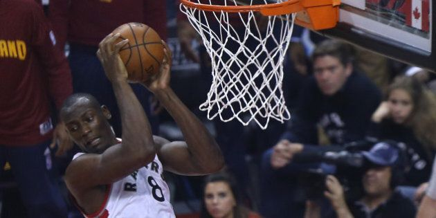 TORONTO, ON- MAY 21: Bismack Biyombo leaps for a rebound as the Toronto Raptors beat the Cleveland Cavaliers...
