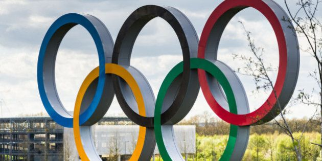 The Olympic Rings inside the Queen Elizabeth Olympic Park in East London, the site of the 2012 Summer...