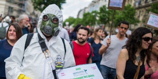Protesters participate, during a World March Against Monsanto, in Paris, France, during a global day...