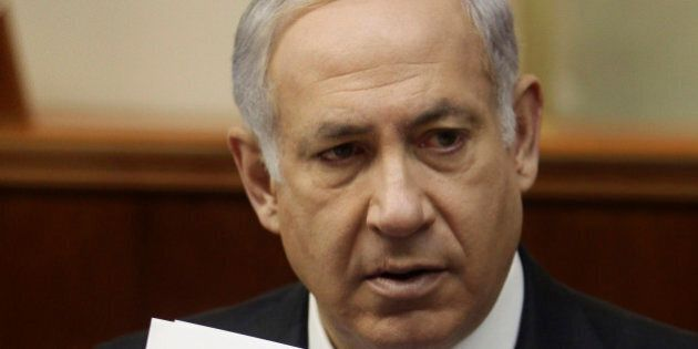 Israel's Prime Minister Benjamin Netanyahu attends the weekly cabinet meeting at his office in Jerusalem...