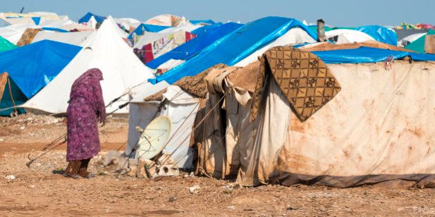 Syrian woman in the camp for displaced persons in Atmeh, Syria (January