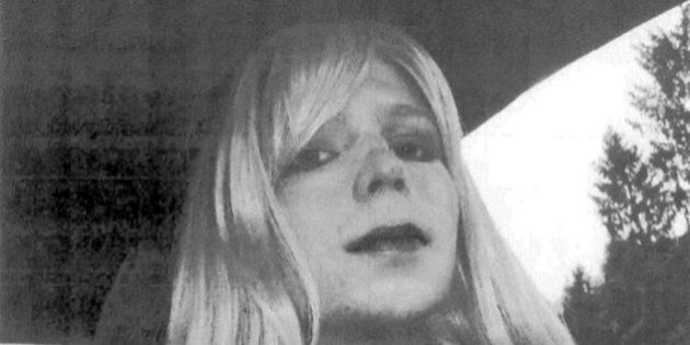FILE - In this undated file photo provided by the U.S. Army Pfc. Chelsea Manning poses for a photo wearing...