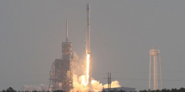 CAPE CANAVERAL, FL - MAY 01: SpaceX Falcon 9 rocket launches from pad 39A on May 1, 2017 in Cape Canaveral,...