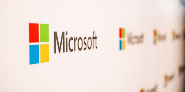 The logo of Microsoft Corp. is displayed at the company's Office and Experience Center in Hong Kong,...