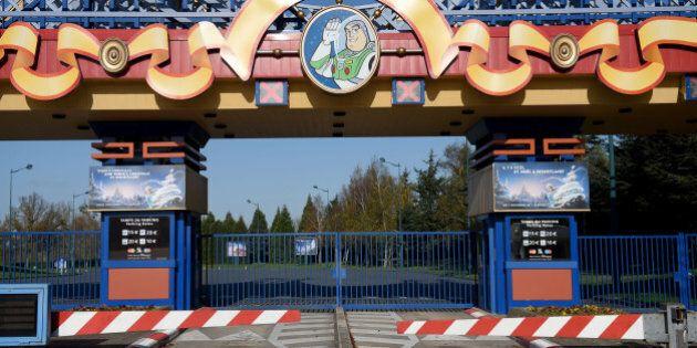 PARIS, FRANCE - NOVEMBER 15: The entrance of Disneyland-Paris entertainment park is closed on November...