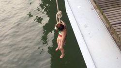 Une Femen se pend à un pont pour la visite du président