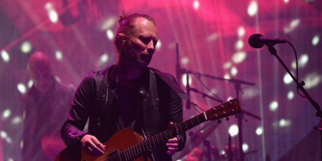 INDIO, CA - APRIL 14: Musician Thom Yorke of Radiohead performs on the Coachella Stage during day 1 of...