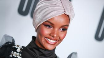 "LOS ANGELES, CALIFORNIA - APRIL 25: Halima Aden attends House Of Uoma presents the launch of Uoma Beauty - The World's First ""Afropolitan"" Makeup Brand at NeueHouse Hollywood on April 25, 2019 in Los Angeles, California. (Photo by Rich Fury/Getty Images)"
