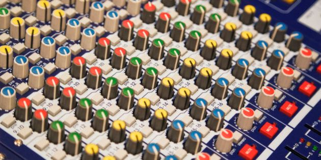 Sound mixing board, close-up of knobs