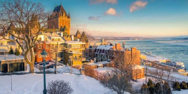 A sunrise shot from little hill near the grand hotel and St.Lawrence river. The shot captures the golden...
