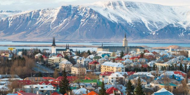 Reykjavik the capital city of Iceland above view from