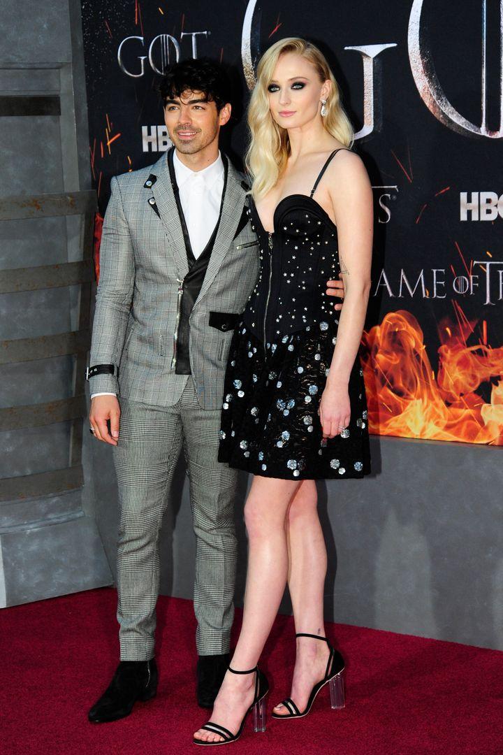 "Joe Jonas and Sophie Turner attend the premiere of ""Game of Thrones"" Season 8."