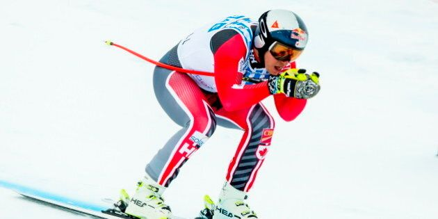 Canada's Erik Guay competes in the FIS World Cup Alpine Skiing Mens Downhill event in Kvitfjell, Norway,...