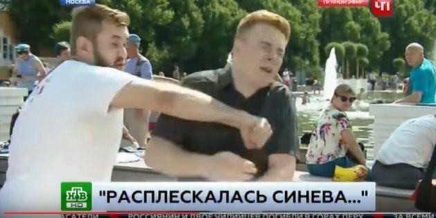 Russie: un journaliste se prend un coup de poing en plein