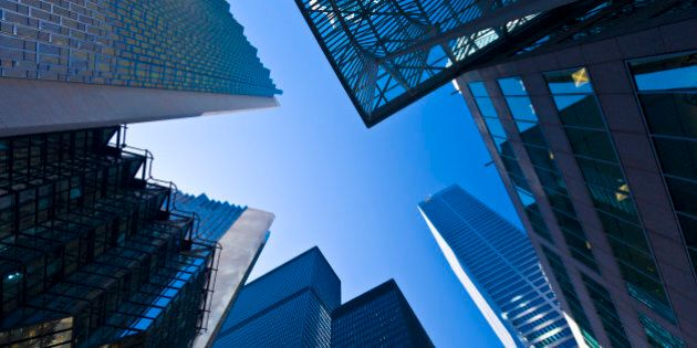 Low angle view of skyscrapers, Bay Street, Toronto, ON, Canada. Bay Street is the financial center of...