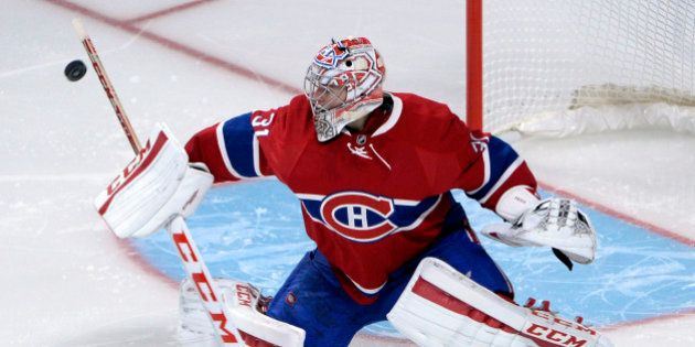 Oct 15, 2015; Montreal, Quebec, CAN; Montreal Canadiens goalie Carey Price (31) makes a save during the...
